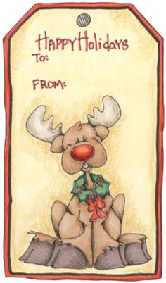 clipart idea, gift tag, gift ideas, reindeer tag, card