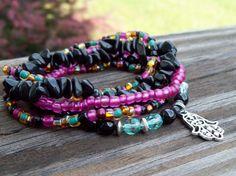 Midnight Garden  Bohemian Hippie Stretch Bracelets by Angelof2, $27.50
