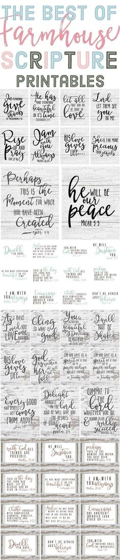 The Best of Free Farmhouse Style Scripture Printables is part of Scripture printables - The best of Farmhouse style scripture printables! Last year I shared many free farmhouse style printables with you guys, like the ones in Vinyl Projects, Circuit Projects, Silhouette Projects, Wooden Signs, Making Ideas, Just In Case, Free Printables, Words, Farmhouse Style