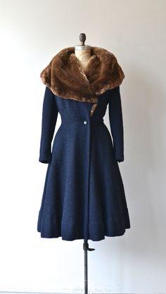 1940s midnight blue boucle wool princess coat by DearGolden