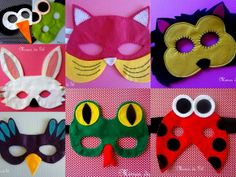 Máscara de feltro caseada à mão de animais. Confecciono outros animais e outras cores. Com elástico. R$ 20,00