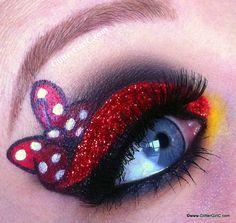 Minnie Mouse eye make up Disney Eye Makeup, Disney Inspired Makeup, Eye Makeup Art, Eye Art, Makeup Eyes, Make Up Art, Eye Make Up, Mini Mouse Makeup, Creative Eye Makeup