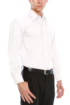 Mens Regular Fit Dress Shirt w/ Reversible Cuff (Big Sizes Available) at Amazon Men's Clothing store: