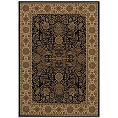 The Momeni Royal Rugs in Black display an elegant collection of traditional designs in a power-loomed construction of soft and durable polypropylene. Old world motifs adorn densely plush pieces that add a rich and tasteful touch to any decor.