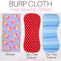 Amazing burp cloth pattern with free printable templates for 3 different styles including rectangle & contoured burp cloth patterns. Sew in under 10 minutes Quilt Baby, Baby Quilts Easy, Baby Clothes Patterns, Sewing Patterns Free, Free Sewing, Cloth Patterns, Free Pattern, Dress Patterns, Baby Patterns