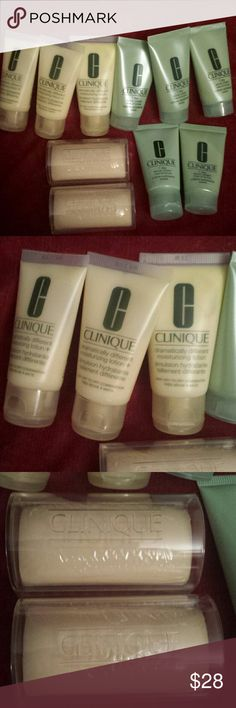 10x Clinique travel size face lotion scrub & soap 10x Clinique travel size items--2× facial soap mild bar (1.5 oz each) plus case, 5x 7 day scrub cream rinse off formula (1 fl oz each), and 3x dramatically different moisturizing lotion (1 fl oz each). PLUS FREE make up bag. New, never been used Clinique Makeup Face Primer