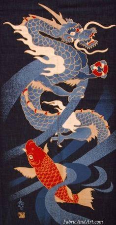 Japanese dragon fabric