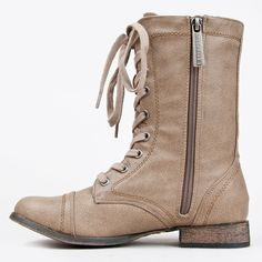 Round Toe Lace Up Military Bootie Combat Boots Women's