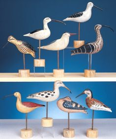 Carved wood shore birds have popped up in several rooms, so here are a few online sources where you can buy them!