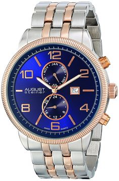 August Steiner Men's AS8069BU Swiss Quartz Multifunction Watch with Blue Dial and Two Tone Bracelet -- Find out more about the great product at the image link. (This is an Amazon Affiliate link and I receive a commission for the sales)