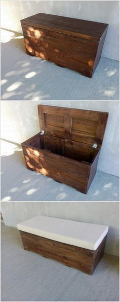 Attractive Wood Pallet Recycling Ideas: Observe on the display beneath and you will discover numerous thoughts of pallet furniture. Here are some wooden pallet reusing thoughts for all. Wood Pallet Recycling, Pallet Crafts, Diy Pallet Projects, Wooden Pallet Furniture, Wooden Pallets, Diy Furniture, Pallet Trunk, Pallet Seating, Reclaimed Wood Projects