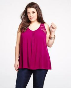 #LoveLegend #AdditionElle love  legend crochet tank top  Stylish and casual Love  Legend tank top! Features pretty crochet back and flattering A-line style. With trendy high-low hem. 29.5 inch length at front, 31 inch length at back. Looks great with a short! Color bright cherry $60.00
