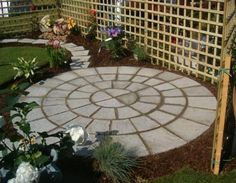 Ideas for Small Patios with circle concrete floor