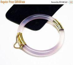 Purple Gemstone Bangle Bracelet  Lavender Jade  by thejewelseeker #vintagejewelry #vintagefashion #asianinspired