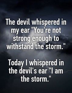 "My personal take on this... the ""Devil"" is fear & the ""storm"" is the reality I create for myself & the goals that I strive to meet."