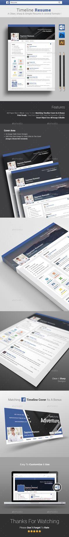 Timeline Resume Template PSD, Vector AI #design Download: http://graphicriver.net/item/-timeline-resume/14277955?ref=ksioks