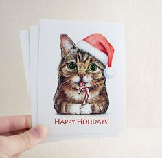 Lil Bub Santa Post Card    A fun post card featuring my original watercolor painting of the adorable Lil Bub as Santa. These unique post cards are