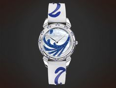 CuervoySobrinos: white mother of pearl diamond dust blue, Lady, Historiador Lady 20170321 Pearl Diamond, Watches, Crocodile, Lady, Gems, Pearls, Crystals, Blue, Accessories