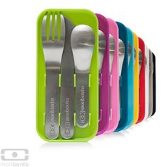 Monbento™ cutlery sets    The cutlery sets monbento™ are made from stainless steel for extended use. In addition, they fit into the MB Original bento boxes between the intermediary and the top lids held in their colorful case.    Be free of plastic forks and spoons that break easily, with the monbento™ cutlery sets you will enjoy real cutlery when you eat.    $19.50
