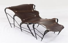 Forged mild steel Chaise Lounge with stitched byproduct vegetable tan cowhide Power Hammer, Outdoor Chairs, Outdoor Decor, Butterfly Chair, Cowhide Leather, Blacksmithing, Cape Town, Sculpture Art, Two By Two
