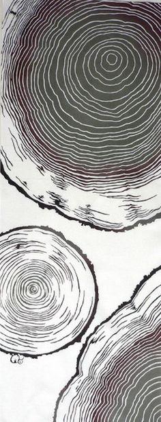Japanese Tenugui Fabric, Annual Ring, Tree Stump, Botanical Pattern, Plant Design, Modern Art Design, Cotton Wall Art Hanging, Scarf, r002