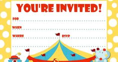 Free Printable Party Invitations: Big Top Circus Themed Party Invite Art