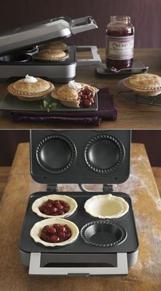 personal pie maker : This new petite pie maker bakes four delicious pies in minutes! Enjoy the fresh taste and delicious aroma of these perfect homemade pies that will delight the most discerning palates from children to adults. www.twokitchenjunkies.com