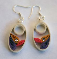 Oval paper earrings with bright stone and ecologycal by Zarzillos
