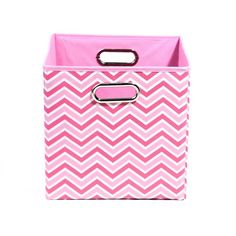 Rose 10.5 in. x 10.5 in. x 10.5 in. Zig Zag Folding Pink Fabric Storage Bin