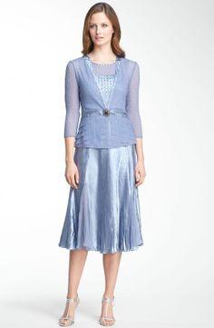 Komarov Pleated Charmeuse Dress & Chiffon Jacket  (size L)