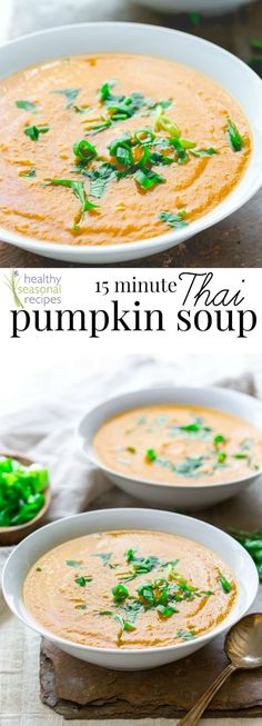 This vegan 15 minute thai pumpkin soup recipe is useful. Have it on hand so that you can get dinner on the table in 15 minutes! Paleo friendly, gluten-free.