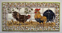 Artisans Tiny Ceramics Hand Painted Tiles of Chickens - On auction is Artisans Tiny Ceramics Hand Painted Tiles of Country Scene of Chickens.  This is a dollhouse miniature.  The scale being one inch to the foot.  The tile is 4 3/8th inches in length and the width is a little over 2  1/8th inches. Z