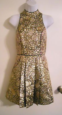 Anthropologie Metallic gold foil brocade floral open back halter mini dress S