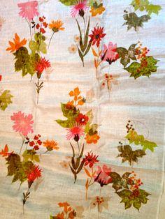Vintage Silk Screen Linen fabric.