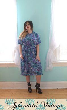 bfcccd3c9ed Vintage 1970s Nancy II Teal Purple and Blue Novelty Print Tunic Dress Belt  Modest Short Sleeve Deadstock Nwt Nos XXLarge XXL Plus Size 22 24