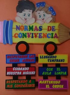 cartel normas de convivencia First Day School, After School, Clay Pot Crafts, Paper Crafts, Transportation Crafts, Back To School Bulletin Boards, Bird Wings, Baby Couture, School Decorations