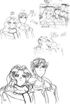 "Animation sketch of Michiru Kaioh (Sailor Neptune) & Haruka Tenoh (Sailor Uranus) from ""Sailor Moon"" series by manga artist Naoko Takeuchi."