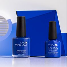 Blue is the new black. | Nail polish shade shown: Blue Eyeshadow from the CND New Wave collection.