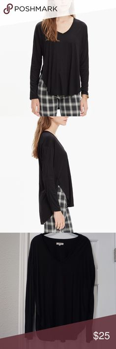 Madewell Anthem Long Sleeve V Neck Tee Worn only once, in like-new condition. Sold out online! Black. Size L. 100% Viscose. Hand wash. Madewell Tops Tees - Long Sleeve