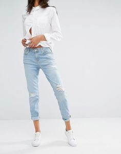 River Island - Ashley - Boyfriend jeans effetto consumato