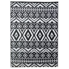 Chatai Aztec Reversible Outdoor Rug, 270x180cm, Black / White