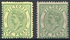 Victoria 1878 (Feb.-Apr.) Emergency printings, 1d. yellow-green on yellow and 1d. yellow-green on drab, both unused with large part original… / MAD on Collections - Browse and find over 10,000 categories of collectables from around the world - antiques, stamps, coins, memorabilia, art, bottles, jewellery, furniture, medals, toys and more at madoncollections.com. Free to view - Free to Register - Visit today. #Stamps #MADonCollections #MADonC Queen Vic, Vintage World Maps, Mad, Stamps, The Past, Coins, Bottles, Auction, Collections