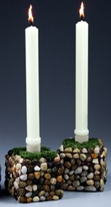 River Stone Mosaic Candlesticks--just a reminder--want to do one rectangular one--more like a square boat that can hold three pillars w/the broken plates I've been saving for the right project.