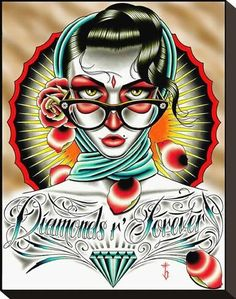 Stretched Canvas Print: Diamonds R Forever Color Canvas Print by Tyler Bredeweg : 13x11in