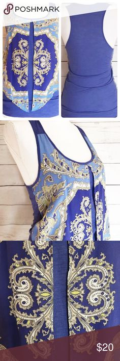 """Anthropologie Leifnotes Scarf Print Boho Blue Top Anthropologie Leifnotes Sleeveless Top with silk front detail Dusty periwinkle blue. Front panels are free-flowing, attached at the side seams. Tag Size: Small  Measurements: Underarm to underarm: 15.75"""" Length in front, from shoulder seam to bottom hem: 29.5"""". Anthropologie Tops Tank Tops"""