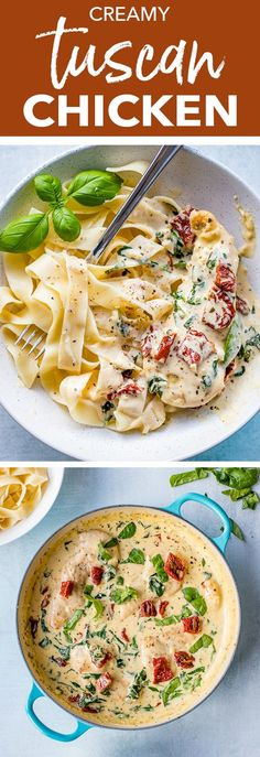 Healthy Meals A restaurant-quality meal on the table in less than 30 minutes - creamy Tuscan chicken with fresh garlic, spinach, and sun-dried tomatoes is as easy as it is delicious, and as perfect for busy weeknights as it is for entertaining. Chicken Thights Recipes, Chicken Parmesan Recipes, Healthy Chicken Recipes, Recipe Chicken, Chicken Salad, Tuscan Chicken Pasta, Tuscan Creamy Garlic Chicken, Quick Chicken Dinner Recipes, Delicious Pasta Recipes