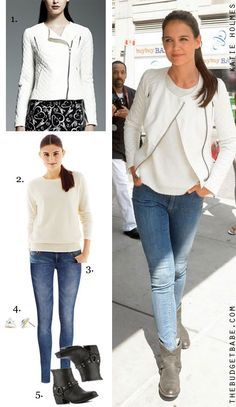 Dress by Number: Katie Holmes' Ivory Quilted Moto Jacket from Kohl's