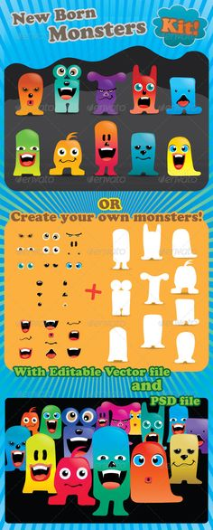 New Born Monsters Kit  #GraphicRiver         Here's a party of new born monsters for you! Make them your own creations. The pack come with 10 pre-made monsters. You can also customize tons of different monsters with 10 colorful bodies, 9 eyes, 9 mouths, 3 hair styles, 6 noses, 5 eyebrows. The pack is vector-based so you can use it anyway you like! Have fun with your new born monsters!   The package contains:   -Editable AI, EPS and PSD format. -Complete AI illustrator file. -Layered PSD…