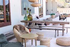 Los Enamorados Hotel - Ibiza / terrace / vintage / summer / wood table with bench / rattan / demijohn Hotel Ibiza, Garden Room, Room, Dining Table, Table, Home Decor, Bench Table, Wood Table, Trendy Home
