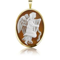 Del Gatto Cameo Angel with Lyre Sardonyx Cameo Pendant/Pin (22.865 RUB) ❤ liked on Polyvore featuring jewelry, pendants, cameos, gold, sea shell jewellery, shell pendant, pendant jewelry, 18k jewelry and cameo pendant